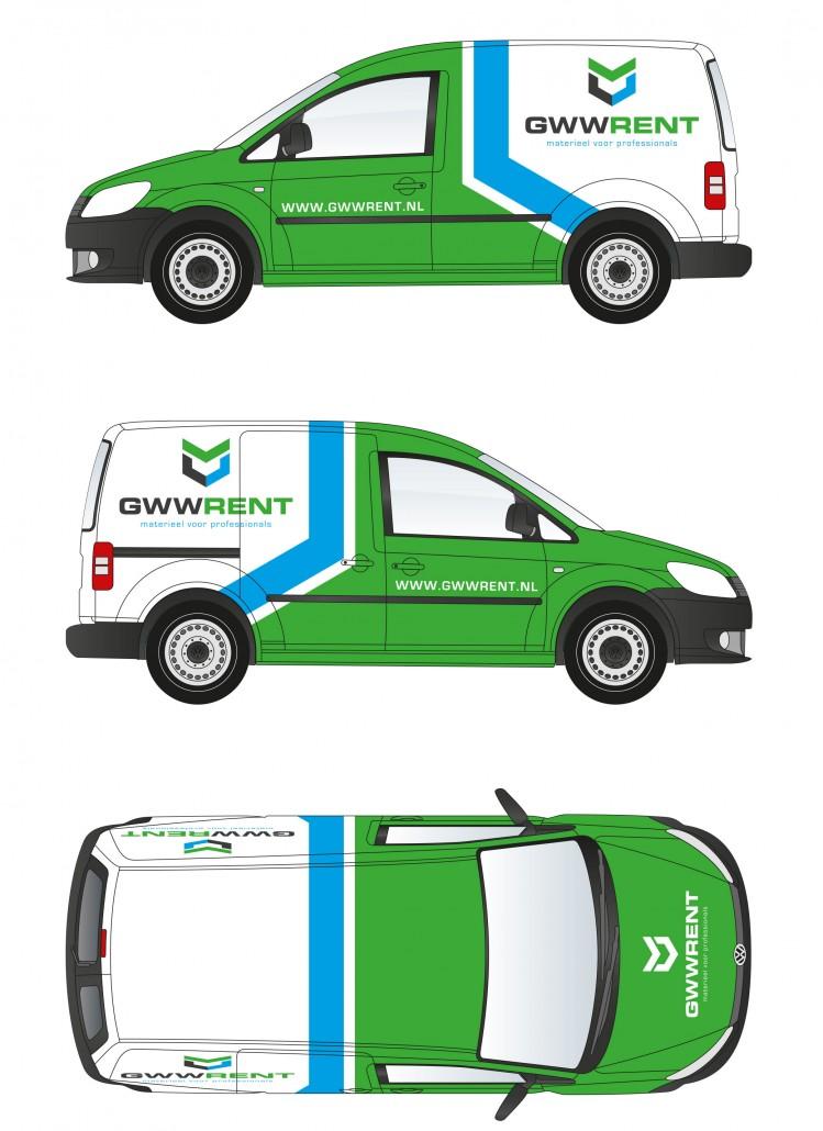 Ontwerp en werktekening voor de autobestickering van GWW