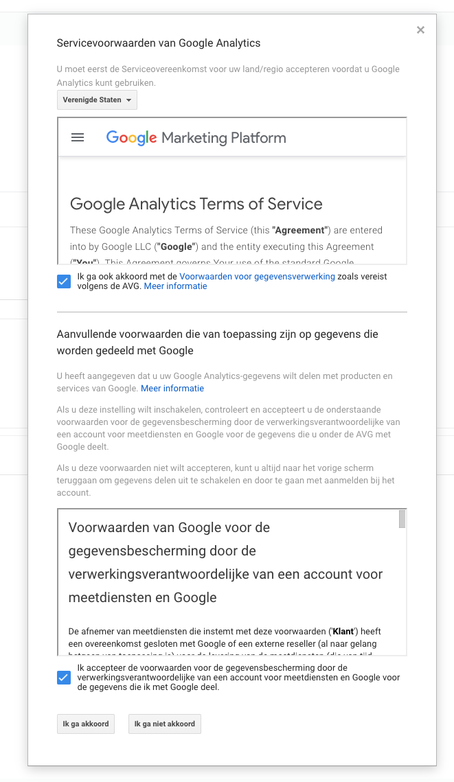 5. Google Analytics account - servicevoorwaarden