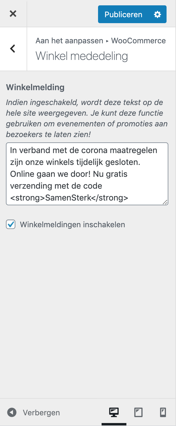 Winkelmededeling via je Customizer 3